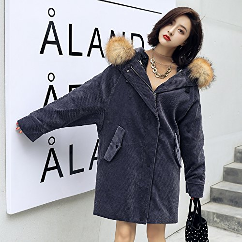 Xuanku Corduroy Cotton Dress Jacket Girls Winter Bf Loose Cotton Coat Women Long Section Of Wool From Cotton Algeria Gray blue