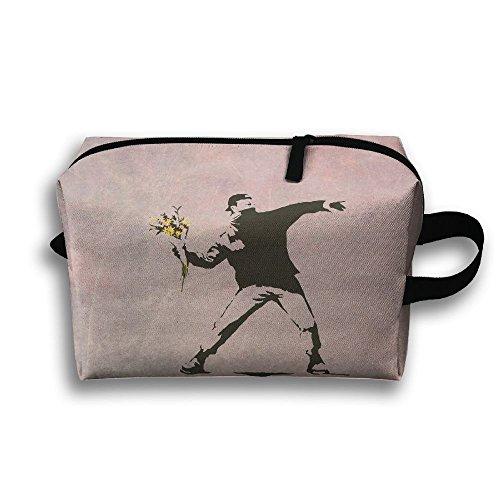 - Banksy Flower Thrower Waterproof Travel Bag Portable Multi-function Handbag Cosmetic Bag
