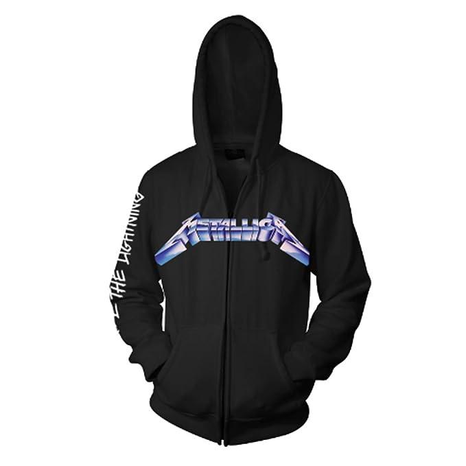 Sudadera oficial Ride The Lightning de Metallica con capucha negra y cremallera: Amazon.es: Ropa y accesorios