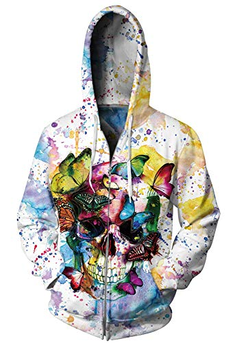 - ENLACHIC Men Women Unisex Couple Novelty 3D Halloween Skull Printed Zip Hoodies Hooded Sweatshirts Coat Plus Velvet,XXL