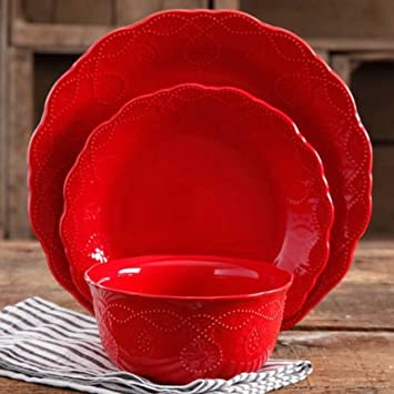 The Pioneer Woman 82780.12R Cowgirl Lace 12 Piece Dinnerware Set, Red