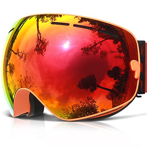 Ski Goggles,COPOZZ G1 Mens Womens Ski Snowboard Snowboarding Goggles - Over Glasses Double Lens Anti Fog Frameless,Cool REVO Mirror Red Orange For Men Women Youth Snowmobile - Orange Goggles