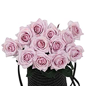 N YONGNUO 12pcs Latex Moisturizing Roses of Real Touch Natural Artificial Flowers Open Blush Roses Realistic Color for Wedding/Home Decor or As a Gift to Wife/Mother/Friend(19 Inch-Light Purple) 17