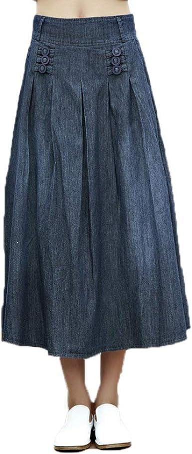 Las Mujeres De Falda Oneworld Largas Algodón De Maxi Jeans Moda Completi Falda Faldas Plisadas Verano Otoño Primavera Primavera Cintura Cintura 70Cm 84Cm 36 38 (Color : Dunkel Blau, Size : 36/38):