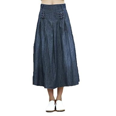 Las Mujeres De Largas Oneworld De Algodón Falda Maxi Jeans ...