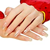 JINDIN 24 Sheet Fake Nails with Long Full Cover Design for Women Nail Art Shiny Decor