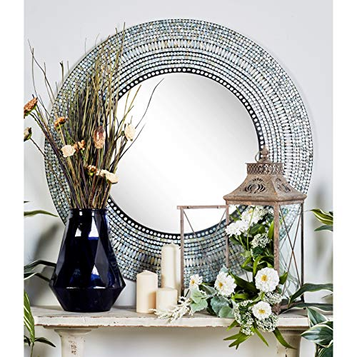 Deco 79 49073 Wood & Shell Inlay Rd - Of Mirrors Bathroom Pearl Mother Overstock