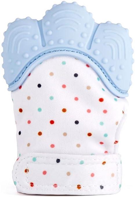 officiell butik toppmode bästa service bébé mitten, bébé gant, les jouets de dentition et douleur apaisant de  dentition pour bébé 100% aliments niveau bpa libre - l'âge de 3 à 12 mois  (bleu pastel): Amazon ...