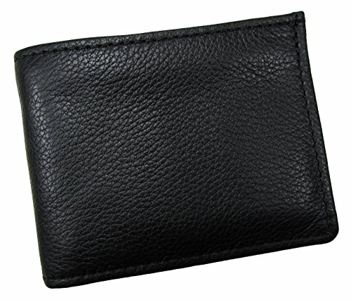 Mens Black Top Grain - Made In USA Men's Bifold Wallet With Removable ID Cover Top Grain Leather Black