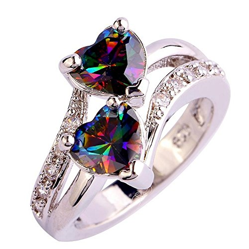 [PSRINGS Fashion Heart Cut Mystic Rainbow White Created Topaz 925 Silver Ring Anniversary Romantic Love Style] (Ninja Turtle Nose Costume)