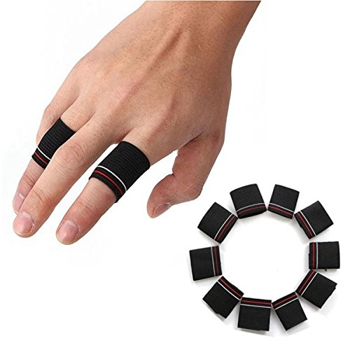 Bazaar 10pcs Finger Protector Guard Support Stretchy Sports Aid Band Black