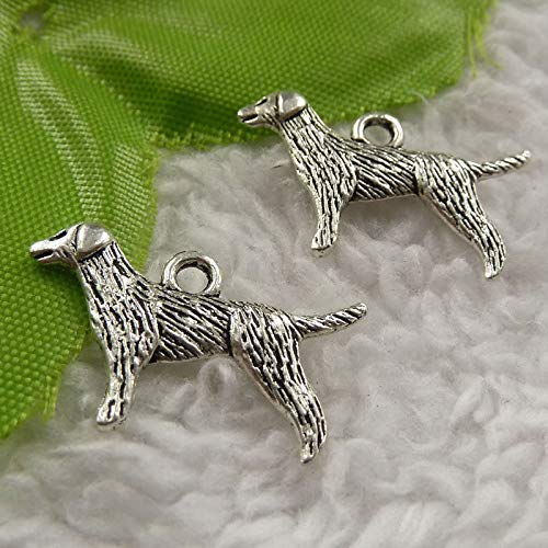 Tibet Dog Charms Silver - FidgetKute 180 Pieces Tibet Silver Dog Charms 24x14mm #4060