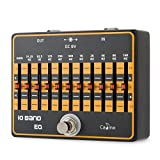 Caline 10-Band EQ Pedal Guitar Effects Pedal True Bypass with Aluminium Alloy Housing CP-24 Equalizer Pedal, Black