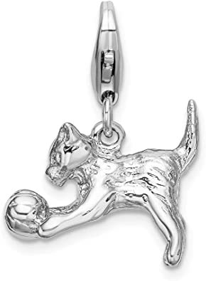 NEW 925 Solid Sterling Silver Kitten And Ball Charm