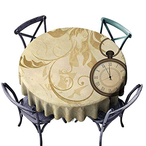 (HCCJLCKS Round Tablecloth Clock A Vintage Grungy Background Design with Pocket Watches on Chain Romantic Retro Art Print Easy to Clean D59 Brown)