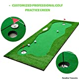 Paradise Treasures Golf Putting Green System Professional Practice Green Long Challenging Putter Indoor/Outdoor Golf Simulator Training Mat Aid Equipment Gift for Dad (3.3x10ft Green)