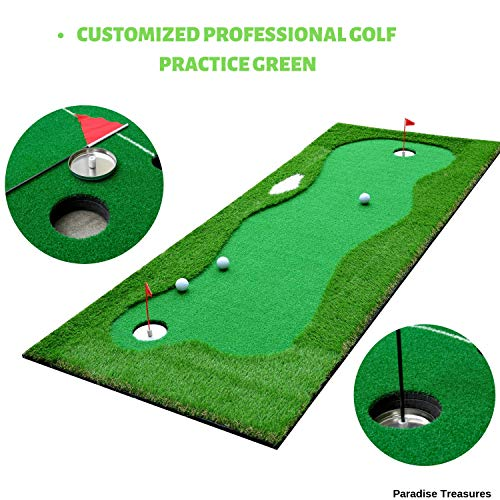 (Paradise Treasures Golf Putting Green System Professional Practice Green Long Challenging Putter Indoor/Outdoor Golf Simulator Training Mat Aid Equipment Gift for Dad (3.3x10ft Green))