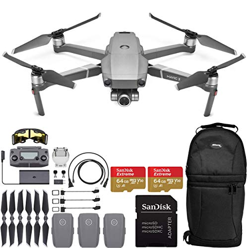 DJI Mavic 2 Zoom Drone Quadcopter with 24-48mm Optical Zoom Camera and 2X SanDisk Extreme 64GB MicroSDXC UHS-I Card (3X Battery)