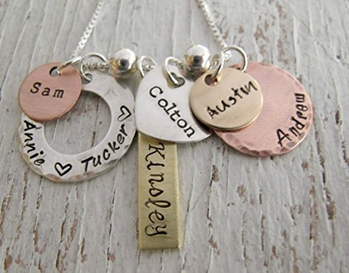 (Personalized Family Jewelry, Grandmother Necklace, Hand Stamped, Mixed Metals, 6 names, Grandma, Nana,)