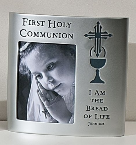 First Holy Communion John 6:35 Bread of Life 6 Inch Silver Resin Picture Frame