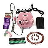Betterhill US Plug 110V-120V 30000 RPM Electric Acrylics Nail Art Drill File Manicure Pedicure Grooming Kit Bits Professional Salon Machine,Low Noise and Vibration(Pink)