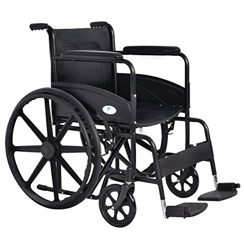 Giantex 24'' Foldable Medical Wheelchair w/Footrest and Carry Pockets FDA Approved, Black