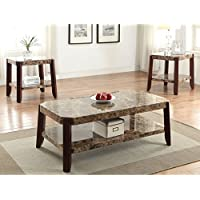 Dacia Faux Marble and Brown MDF End Table,Brown Finish 24L x 23W x 24H