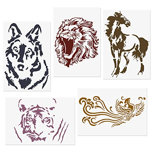 """CODOHI 5 Packs Animals Stencils Lion Tiger Horse Wolf Phoenix Reusable Mylar Template - DIY Craft Stencils for Painting 8.2""""x11.6"""""""