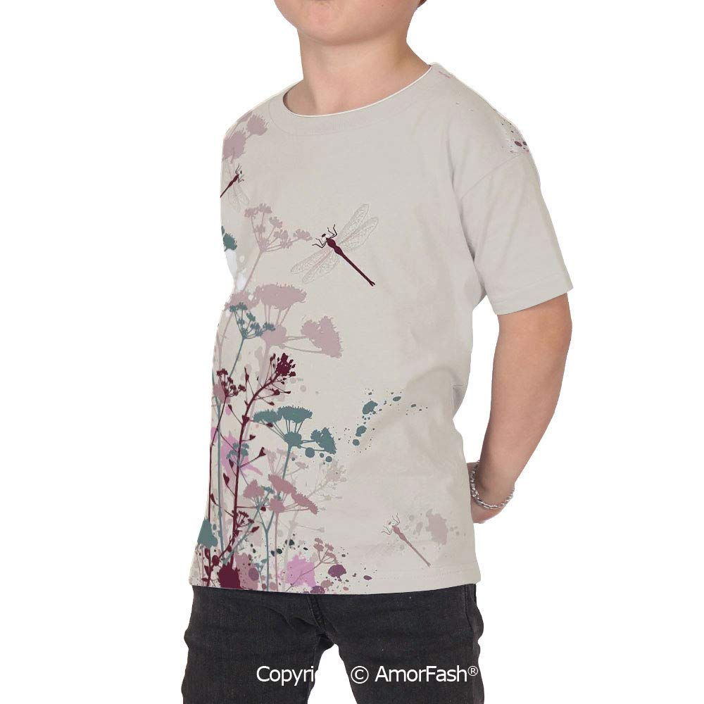 Dragonfly Lovely Printed T-Shirts,Crew Neck T-Shirt of Girls,Polyester,Plants an