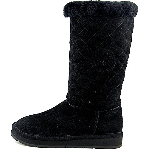 Michael Kors Womens Sandy Quilted Boot Closed Toe Mid-Calf Leather Fashion Boots, Black, Size 6