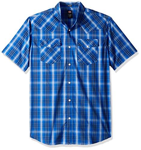 Dickies Men's Short Sleeve Flex Western Shirt, Rinsed Ocean French Blue Plaid, L