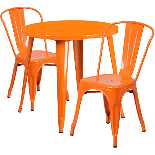 Flash Furniture 30'' Round Orange Metal Indoor-Outdoor Table Set with 2 Cafe Chairs (Outlet Outdoor Furniture Patio)