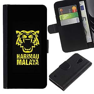 LECELL--Cuero de la tarjeta la carpeta del tirón Smartphone Slots Protección Holder For Samsung Galaxy S4 IV I9500 -- Harimau Tiger Malaya --