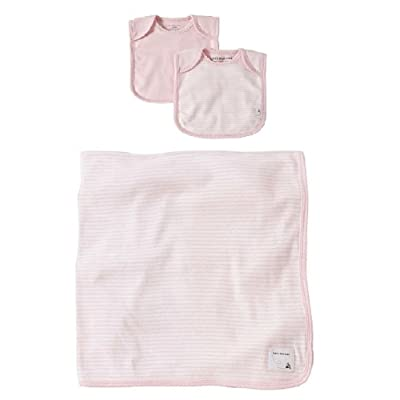 Burt's Bees Baby Organic Layette Set: 2 Lap Shoulder Bibs and Striped Blanket - Blossom Pink