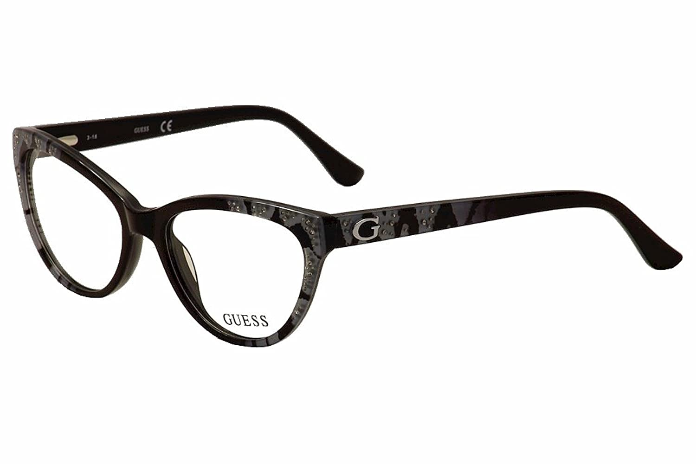 Guess Eyeglasses GU2554 GU/2554 001 Black/Blue Cat Eye Optical Frame ...