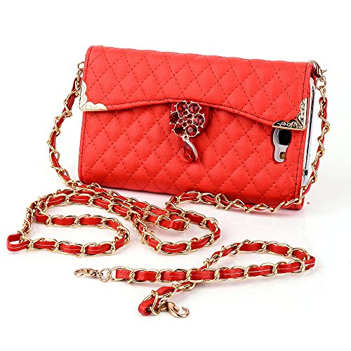 Galaxy Note 2 Case, Tradekmk(TM) Latest Luxury Golden Edge Plum Crystal Pendant Pattern PU Leather Slim Fit Folio Handbag Wallet Case Cover Compatible with Samsung Galaxy Note 2 N7100[+Stylus+Screen Protector+Cleaning Cloth]-(Red)