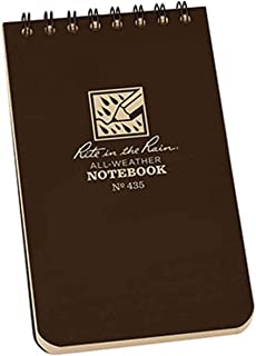"product image for Rite in the Rain All-Weather Top-Spiral Notebook, 3"" x 5"", Brown Cover, Universal Pattern (No. 435)"