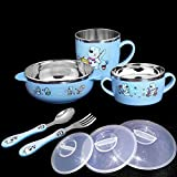 MKKM Children Bowl Cutlery Set Baby Stainless Steel Household Drop Eat Bowl Cute Cartoon Food Supplement Double Insulation,Blue