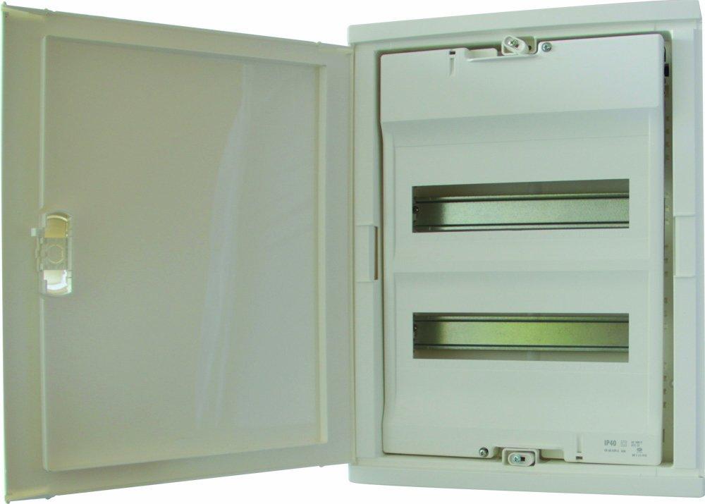 Legrand LEG01512 Coffret encastré porte isolante galbée 2 rangée 24 + 4 modules ral 9010 Blanc Protection tableau coffret encastré