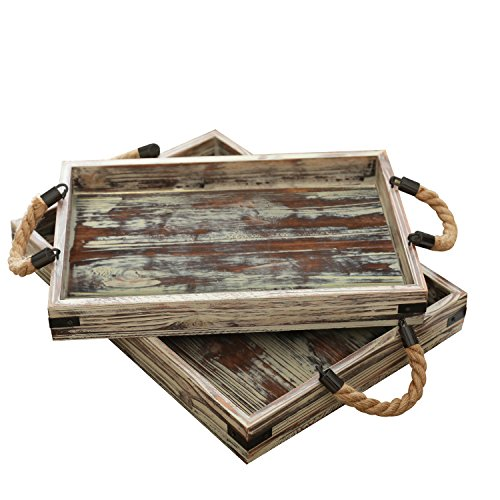 MyGift Country Rustic Wood Coffee Tray Set of 2 with Rope Handles/Breakfast Platters/Serving Trays