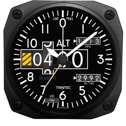 Altimeter Desk (Trintec 2060 Series NV Aviation Altimeter Altitude Travel Alarm Clock 3.5 Sq)