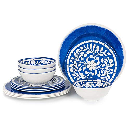 Melamine Plates and Bowls Set -12pcs Dishes Dinnerware Set, Camping Rving Dinner Plates Set, Service for 4