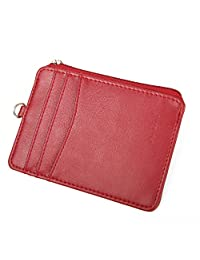 Women Wallet RFID Card Holder Card Case Fashion Credit Card Case with Key Ring (Red)