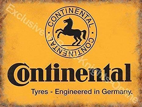 Continental neumáticos Amarillo firmar, negro caballo logotipo Alemán Neumáticos Para coches, motores, ciclos para casa, hogar, garaje, bicicleta tienda, hombre cave, vertiente o pub. Metal/Cartel De
