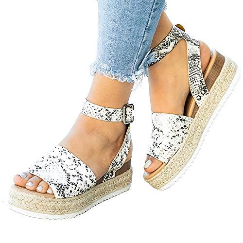 (Athlefit Women's Platform Sandals Espadrille Wedge Ankle Strap Studded Open Toe Sandals Size 10.5 Python)