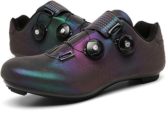 GET Zapatillas de Ciclismo con Doble Hebilla, Zapatillas Transpirables Profesionales de MTB para Carretera Zapatillas de Bicicleta Luminosas con Cierre automático EU 37-48: Amazon.es: Zapatos y complementos