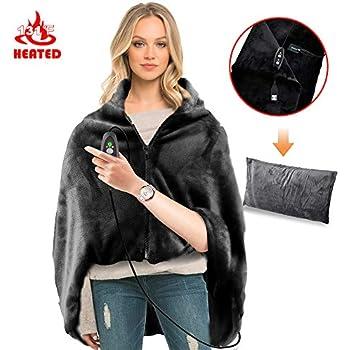 RTDEP USB Heated Shawl with Pillowcase Heated Blanket Plush Throw Blanket, Heated Throw Electric Lap Blanket as a Pillow,Heated Cape Heated Flannel Blanket 46x35 Inch(Black)