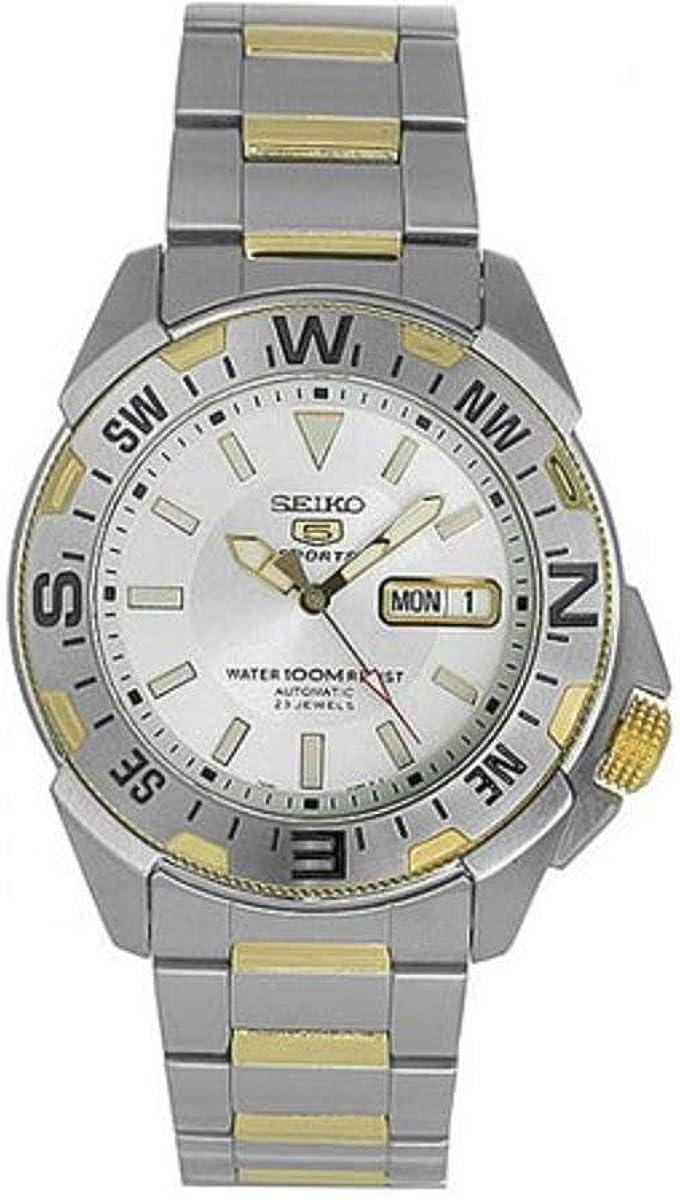 SEIKO 5 SNZF08J1 - Reloj automático para hombre, color plateado
