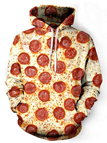 Xiaohudui Unisex Realistic Pizza Printed Hip Hop Street Style Hip Hop Sweatshirt Pullover Hoodie for Men Women]()