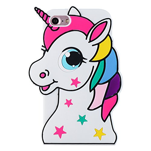 Mulafnxal Stars Unicorn Case for iPhone 6 6S,Soft Silicone 3D Cartoon Animal Cover, Cool Star Kids Girls Child Cute Gel Rubber Kawaii Character Fashion Skock Proof Protector Cases Skin for iPhone6 4.7